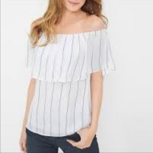 WHBM Off The Shoulder Stripe Blouse